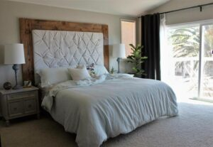 Rustic Glam Headboard Step by Step Tutorial featured by top US DIY blog, Domestic Blonde