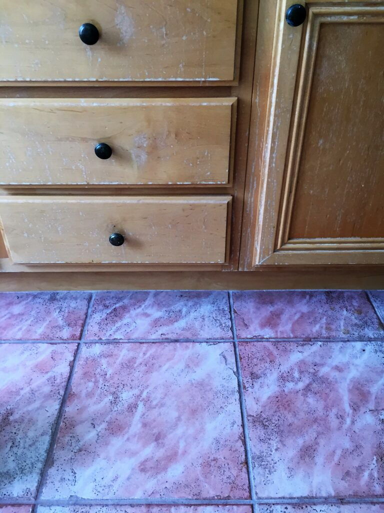 How to refinish bathroom cabinets with professional results, featured by top DIY blog, Domestic Blonde: before picture