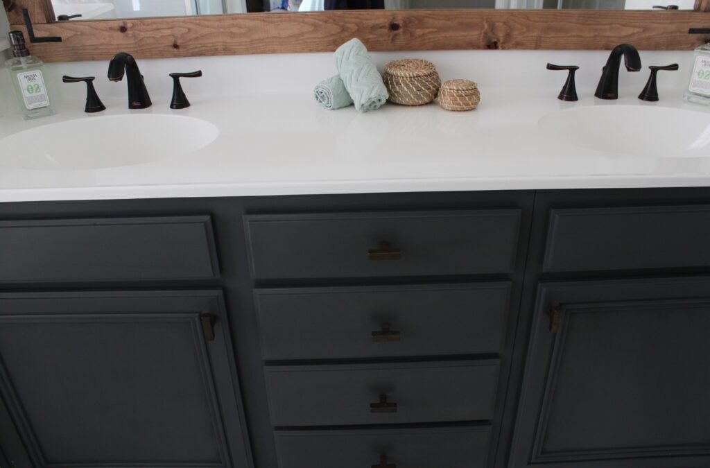 How to Refinish Bathroom Countertops: a Step by Step Tutorial featured by top US DIY blog, Domestic Blonde