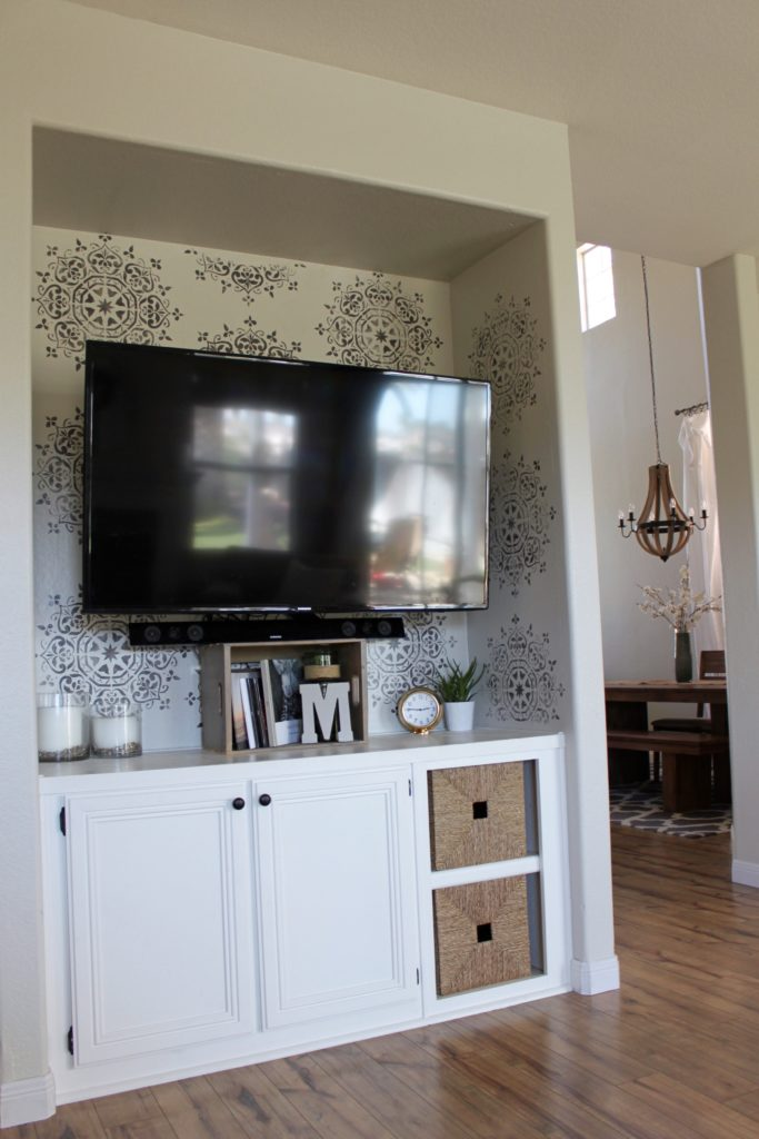 How to Stencil a Small Wall for a BIG Impact featured by top US DIY blog, Domestic Blonde