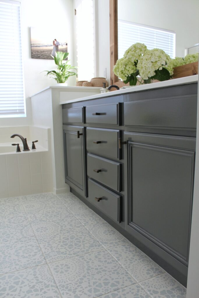 How to refinish bathroom cabinets with professional results, featured by top DIY blog, Domestic Blonde: after picture
