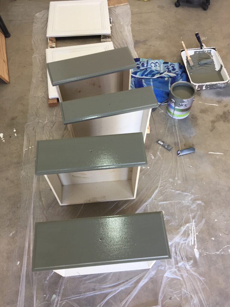 How to refinish bathroom cabinets with professional results, featured by top DIY blog, Domestic Blonde: painting