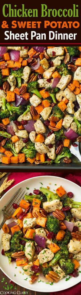 Top 5 Best Pinterest Recipes featured by top US lifestyle blog, Domestic Blonde: Chicken broccoli and sweet potato dinner