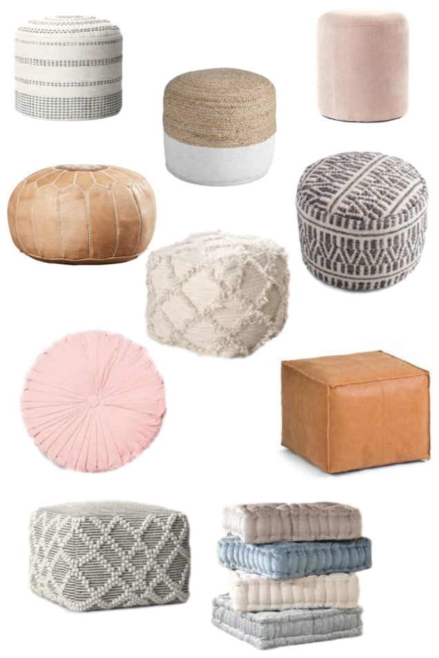 Floor poufs roundup featured by top US lifestyle blog, Domestic Blonde