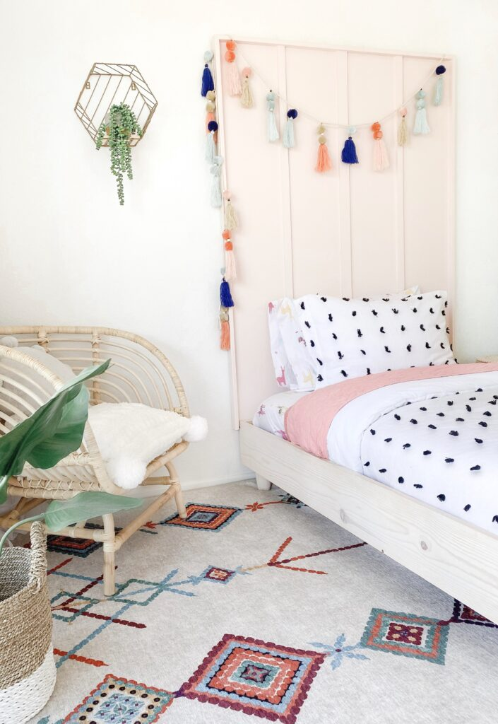 DIY Little Girl Headboard tutorial featured by top US DIY blog, Domestic Blonde.