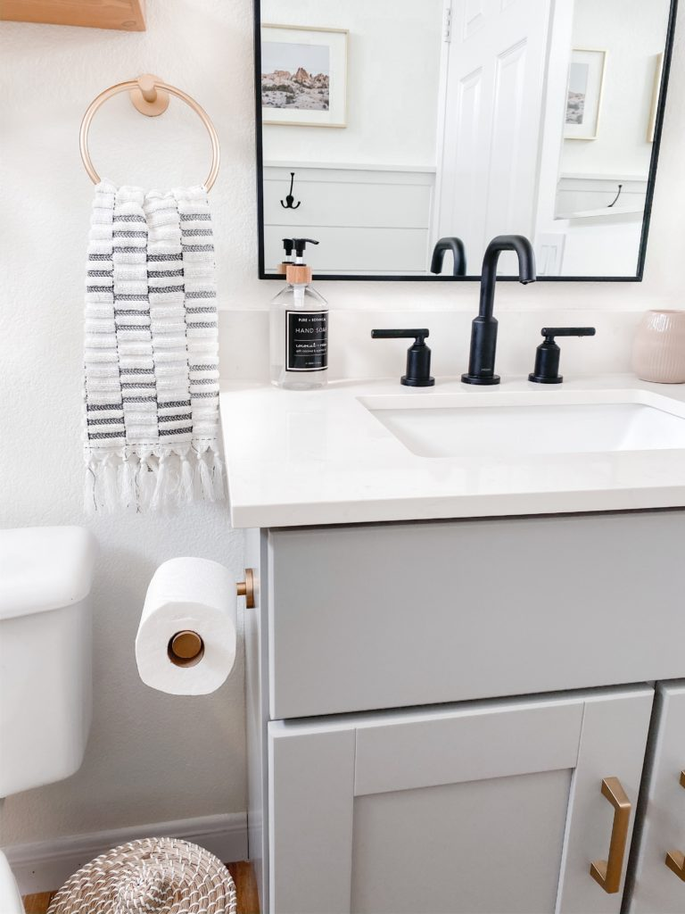 Small Bathroom Remodel Ideas with before and after pictures featured by top US DIY blog, Domestic Blonde.