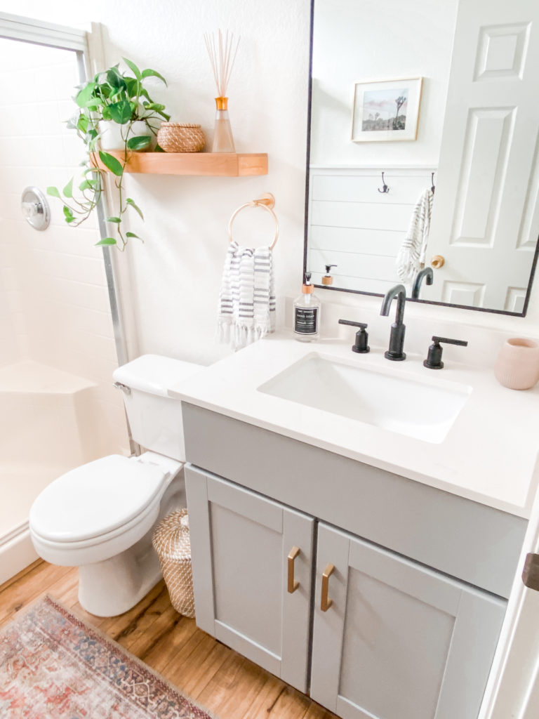 Small Bathroom Remodel Ideas with before and after pictures featured by top US DIY blog, Domestic Blonde: before and after bathroom makeover
