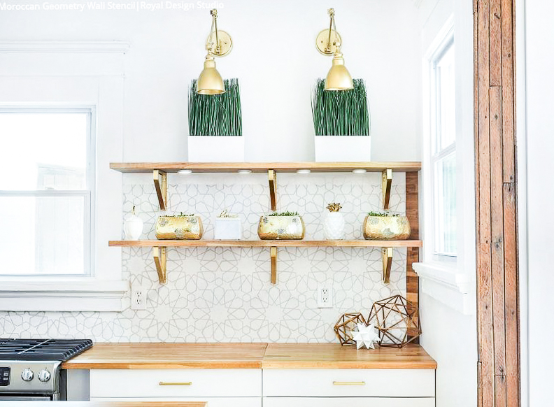 Top 5 Home Decor Stencils featured by top US home decor blogger, Domestic Blonde: Moroccan Geometry stencil