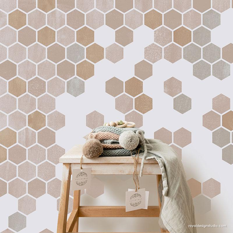 Top 5 Home Decor Stencils featured by top US home decor blogger, Domestic Blonde: Honeycomb hexagon tiles stencil