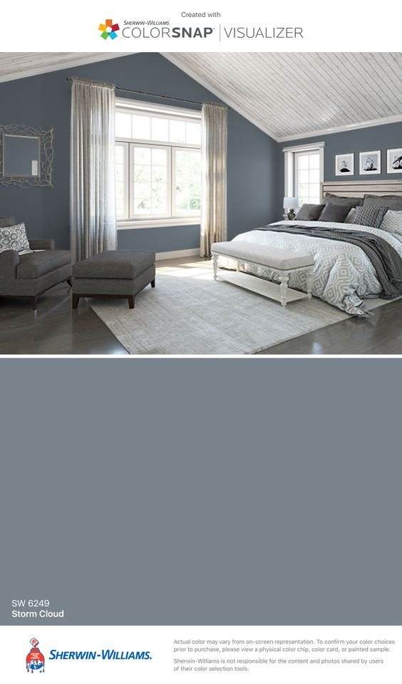 Grey Paint Colors by popular interior design blog, Domestic Blonde: image of a room with walls painted in Sherwin-Williams storm cloud paint.
