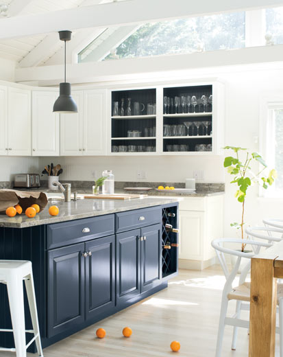 Grey Paint Colors by popular interior design blog, Domestic Blonde: image of a grey kitchen island.