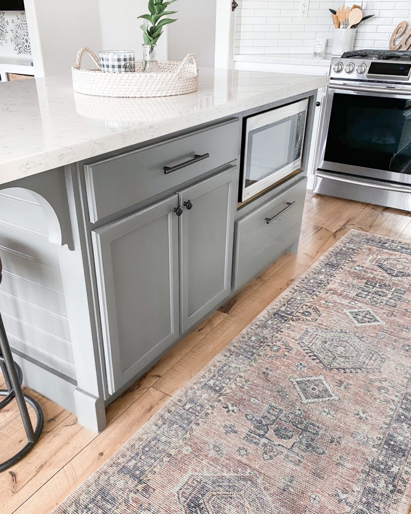 Best Grey Paint colors | Grey Paint Colors by popular interior design blog, Domestic Blonde: image of a grey kitchen island.
